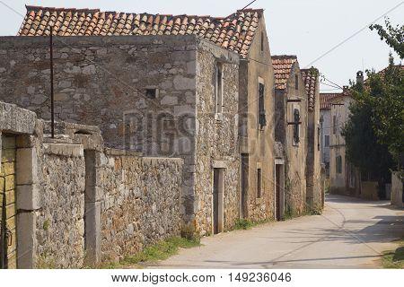 Historical lane in village Nevidane island Pasman Croatia