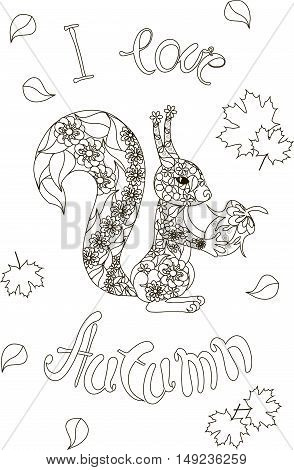 Lettering I love autumn, floral squirrel, coloring page anti-stress vector illustration