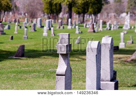 cemetery graves in a small country cemetery.
