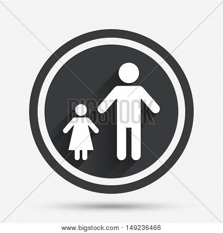 One-parent family with one child sign icon. Father with daughter symbol. Circle flat button with shadow and border. Vector