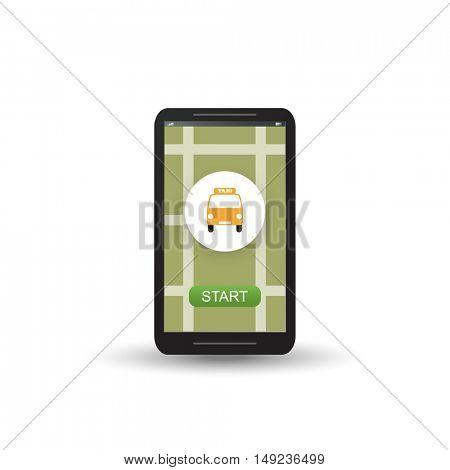 Taxi Ordering Service Design Concept: Logo, Mobile Application UI - Vector Illustration