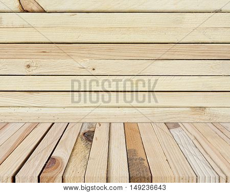 top view or 45 (forty-five) degrees modern and classic vertical wood table terrace or floor for your place object or product on wooden wall background