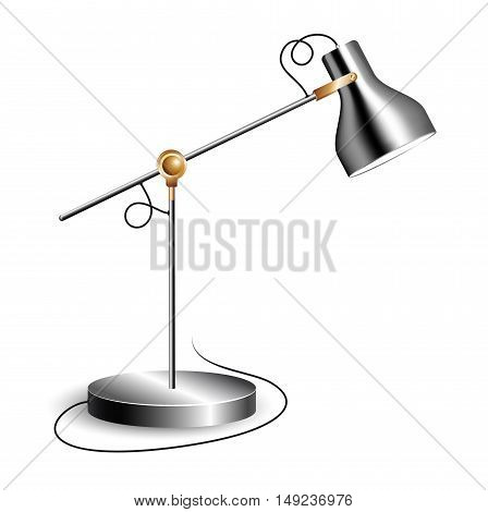 Metal table lamp with joint and shiny chrome shade, isolated