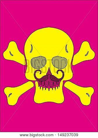 yellow skull with bones and mustache and pink background