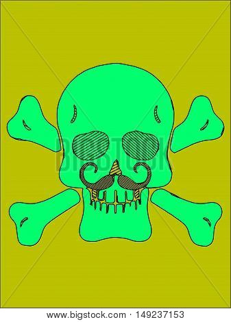 green skull with bones and mustache and yellow background
