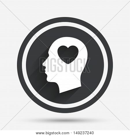 Head with heart sign icon. Male human head in love symbol. Circle flat button with shadow and border. Vector