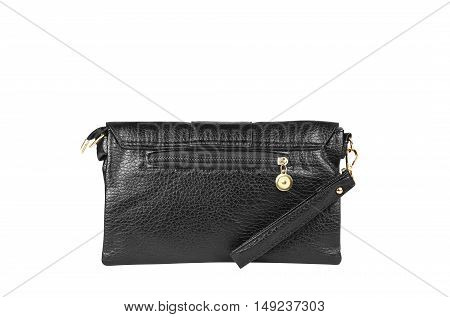 chic luxury leather black hand bag with handle or strap and zipper for woman on white background isolated included clipping path