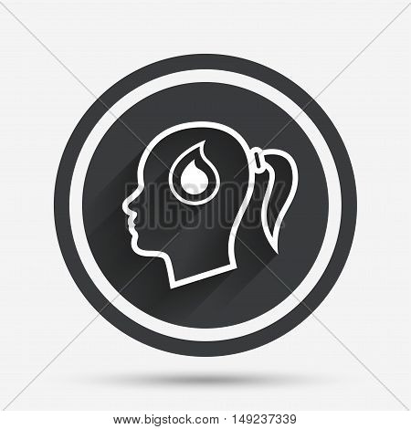Head with blood drop sign icon. Female woman human head symbol. Circle flat button with shadow and border. Vector