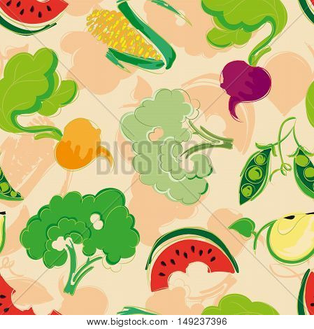 Seamless pattern of stylized fruit and vegetables: corn Brussels sprouts turnips beets watermelon Apple pea