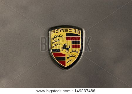 SZCZECIN, POLAND - September 23, 2016: Logo of Porsche on the gray paint car