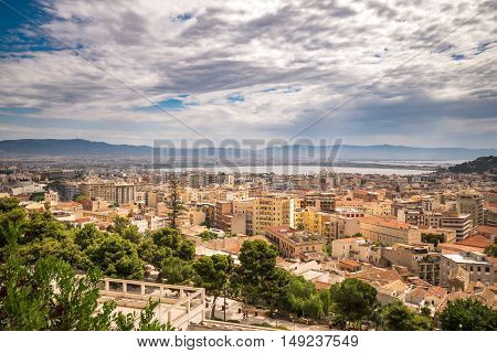 View of Cagliari capital of the region of Sardinia Italy.