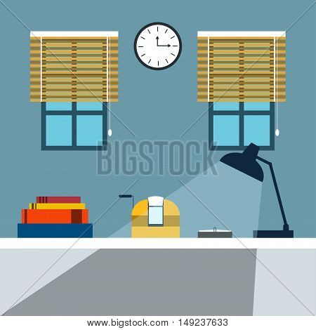 Bookkeeper Vector illustration Bookkeeper desk with lamp, adding machine and files