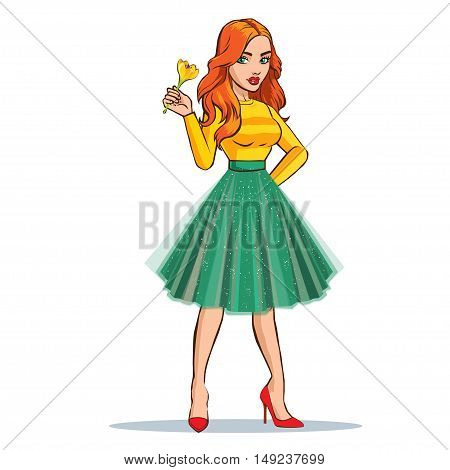 Beautiful girl with flower. Vector fashion illustration.
