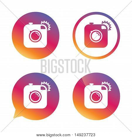 Hipster photo camera sign icon. Retro camera with flash symbol. Gradient buttons with flat icon. Speech bubble sign. Vector