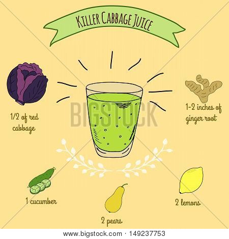 Hand drawn sketch illustration. Recipe and ingredients of healthy energy drink for restaurant or cafe. Vegan Detox drinks. Gluten free drinks. Vegetarian Smoothie Recipe. Cabbage Juice.