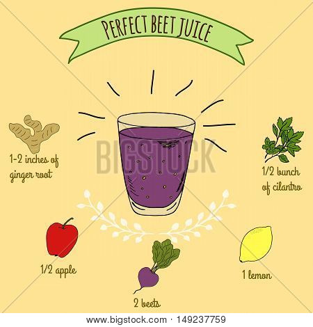 Hand drawn sketch illustration. Recipe and ingredients of healthy energy drink for restaurant or cafe. Vegan Detox drinks. Gluten free drinks. Vegetarian Smoothie Recipe. Beet Juice.