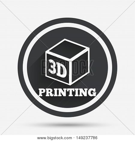 3D Print sign icon. 3d cube Printing symbol. Additive manufacturing. Circle flat button with shadow and border. Vector