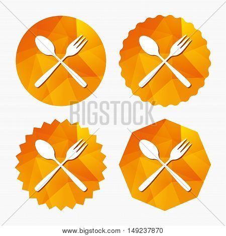 Eat sign icon. Cutlery symbol. Dessert fork and teaspoon crosswise. Triangular low poly buttons with flat icon. Vector