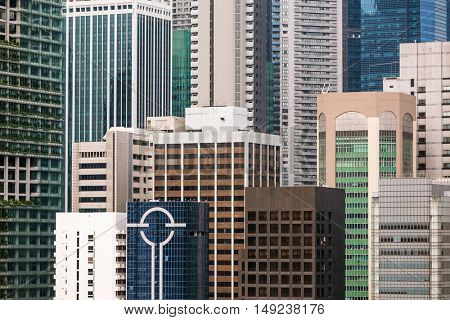 Singapore - June 26, 2016: Skyscrapers of Central Business District of Singapore