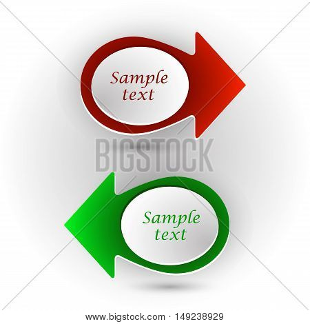 Vector set of red and green arrows template for banner pointer sign.