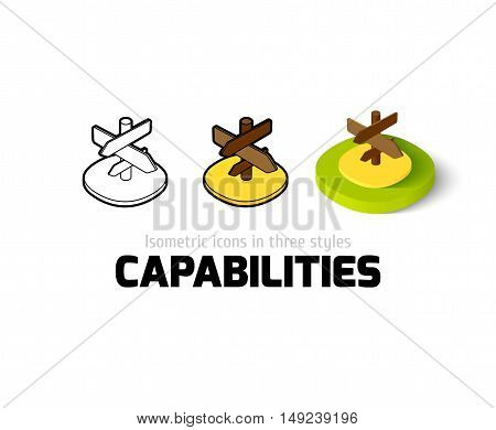 Capabilties icon, vector symbol in flat, outline and isometric style