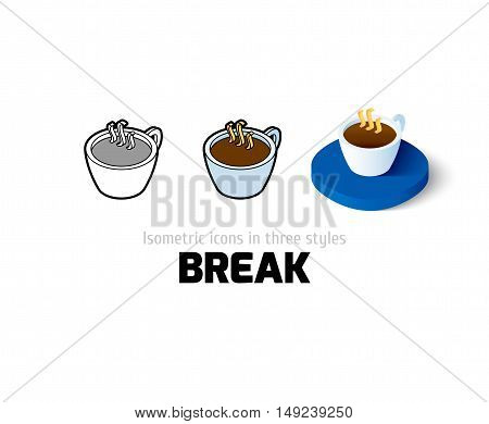Break icon, vector symbol in flat, outline and isometric style