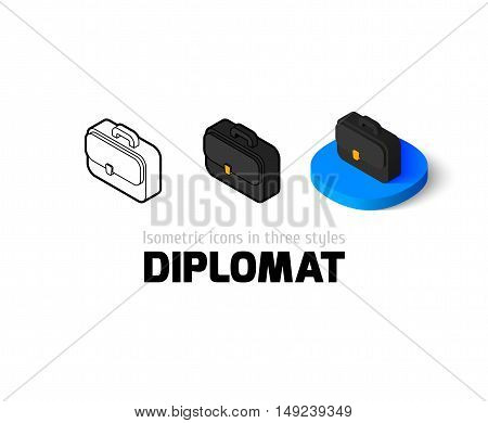Diplomat icon, vector symbol in flat, outline and isometric style