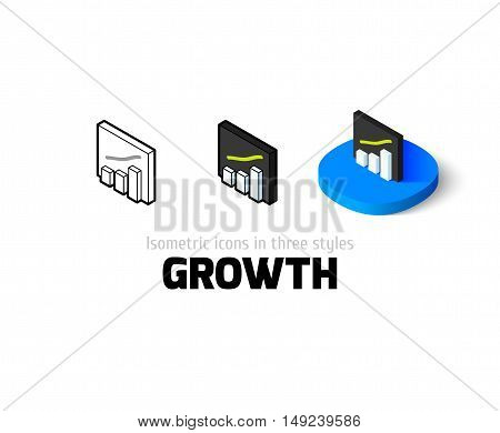 Growth icon, vector symbol in flat, outline and isometric style