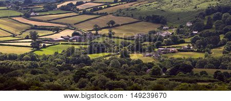 Villages and meadows in the Dartmoor National Park. Devon. England. Aerial view