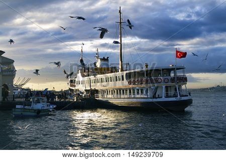 Istanbul, Turkey - January 19, 2013: Ferries in Istanbul. Boats have traversed the waters of the Bosphorus for millennia and until the opening of the first Bosphorus bridge in 1973 were the only mode of transport between the European and Asian halves of I