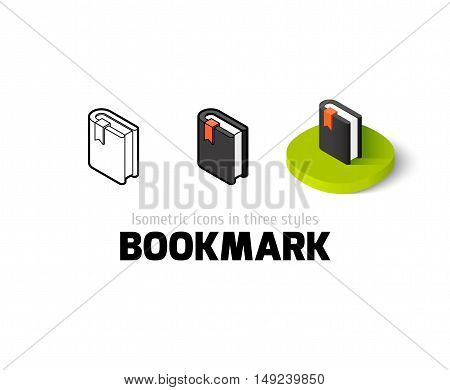 Bookmark icon, vector symbol in flat, outline and isometric style
