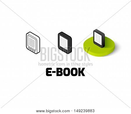 E-Book icon, vector symbol in flat, outline and isometric style