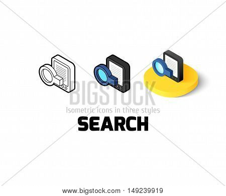Search icon, vector symbol in flat, outline and isometric style