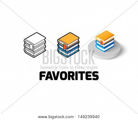 Favorites icon, vector symbol in flat, outline and isometric style