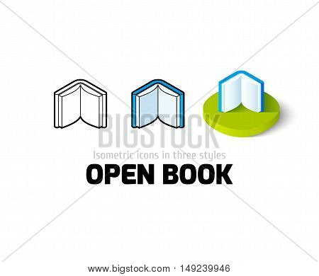 Open book icon, vector symbol in flat, outline and isometric style