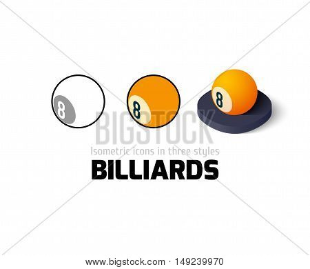 Billiards icon, vector symbol in flat, outline and isometric style