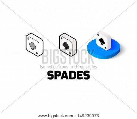 Spades icon, vector symbol in flat, outline and isometric style