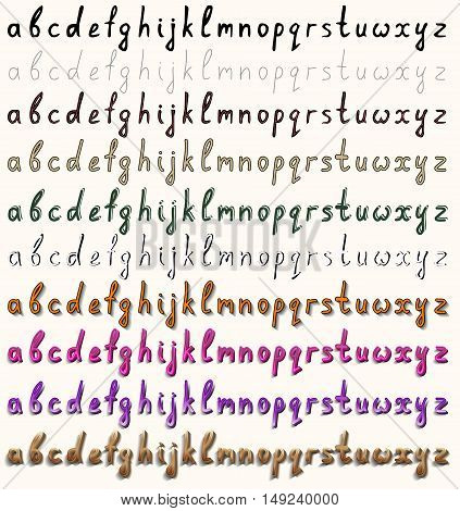Handwritten font. A set of ten variants in different styles. Lower-case letters.