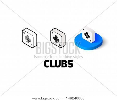 Clubs icon, vector symbol in flat, outline and isometric style