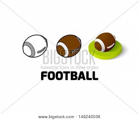 Football icon, vector symbol in flat, outline and isometric style