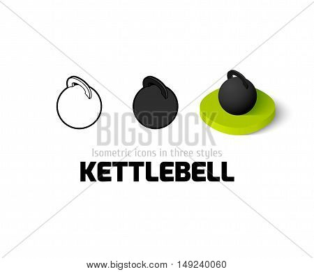 Kettlebell icon, vector symbol in flat, outline and isometric style