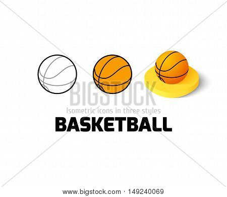 Basketball icon, vector symbol in flat, outline and isometric style