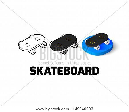 Skateboard icon, vector symbol in flat, outline and isometric style