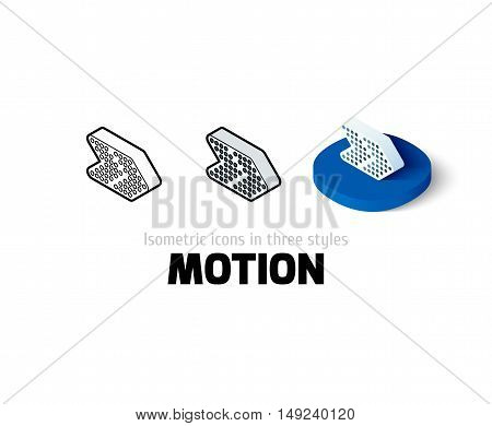 Motion icon, vector symbol in flat, outline and isometric style