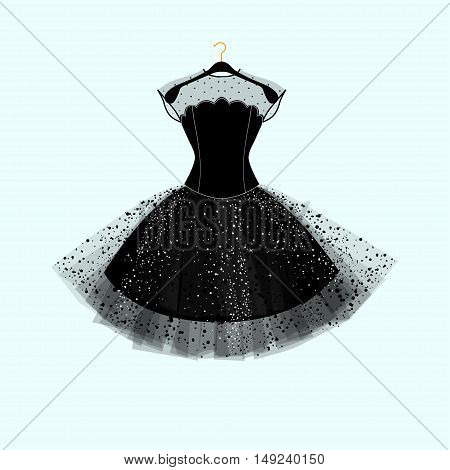 Black dress. Party dress. Vector fashion illustration