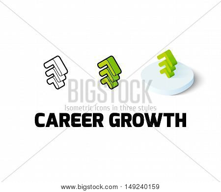 Career growth icon, vector symbol in flat, outline and isometric style