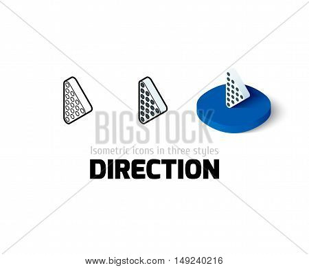 Direction icon, vector symbol in flat, outline and isometric style