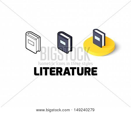 Literature icon, vector symbol in flat, outline and isometric style