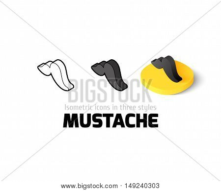 Mustache icon, vector symbol in flat, outline and isometric style