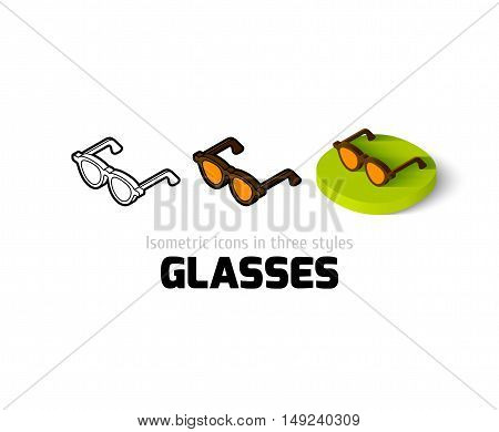 Glasses icon, vector symbol in flat, outline and isometric style